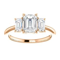 Natural 2.82 CTW 3-Stone Emerald Cut Diamond Engagement Ring 18KT Rose Gold