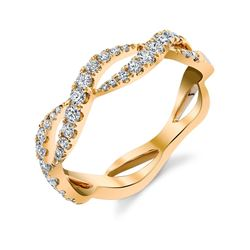 Natural 0.35 CTW Stackable Diamond Waves Infinity Ring 18KT Yellow Gold