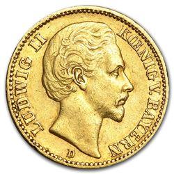 1872-1878 Germany Gold 20 Mark Bavaria Ludwig II Avg Circ