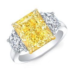 Natural 11.52 CTW Vivid Yellow Cushion Cut & Half Moons Diamond Ring 18KT Two-tone