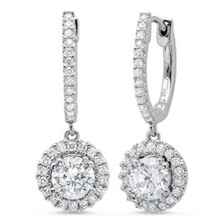 Natural 0.92 CTW U-Pave Lever Back Halo Round Cut Diamond Earrings 18KT White Gold