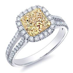 Natural 1.67 CTW Canary Yellow Radiant Cut Diamond Engagement Ring 14KT Two-tone