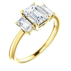 Natural 3.02 CTW 3-Stone Emerald Cut Diamond Engagement Ring 14KT Yellow Gold