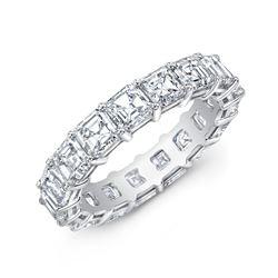 Natural 5.02 CTW Asscher Cut Diamond Eternity Band Wedding Ring 18KT White Gold