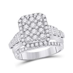 14kt White Gold Womens Round Diamond Rectangle Cluster Ring 1-3/4 Cttw