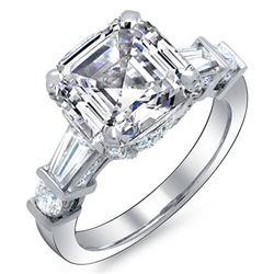Natural 4.02 CTW Asscher Baguette Diamond Engagement Ring 18KT White Gold