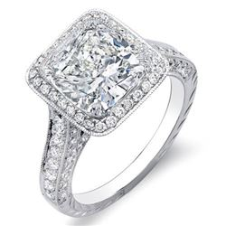 Natural 2.37 CTW Halo Cushion Cut 3-Row Diamond Engagement Ring 18KT White Gold