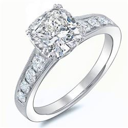 Natural 1.92 CTW Cushion Cut w/ Milgrain Detail Diamond Engagement Ring 14KT White Gold