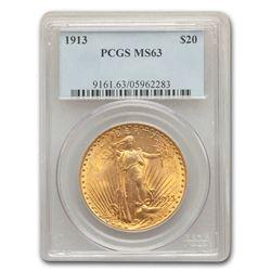 1913 $20 Saint-Gaudens Gold Double Eagle MS-63 PCGS