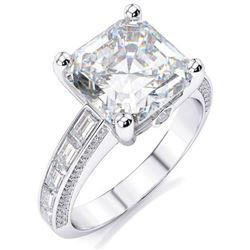Natural 2.62 CTW Asscher Cut Diamond Ring 18KT White Gold