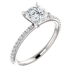 Natural 3.27 CTW Cushion Cut Solitaire Diamond Ring 14KT White Gold
