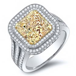 Natural 3.82 CTW Double Halo Canary Yellow Cushion Cut Diamond Engagement Ring 18KT Two-tone