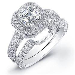 Natural 2.42 CTW Asscher Cut Halo Diamond Ring 18KT White Gold