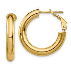 14k Polished Round Hoop Earrings - 4x15 mm