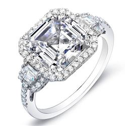 Natural 2.4 CTW Asscher Cut w/ Halo of Round Cut Diamond Engagement Ring 18KT White Gold