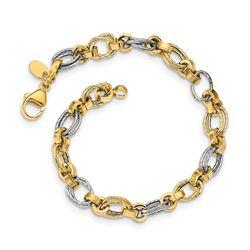 14K Two-tone Gold Polished Fancy Link Bracelet - 8 in.