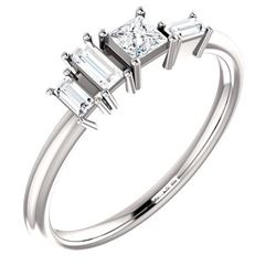 Natural 0.27 CTW Geometric Diamond Ring 18KT White Gold