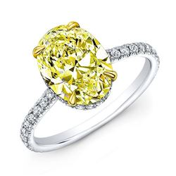 Natural 2.62 CTW Halo Canary Yellow Oval Cut Diamond Ring 18KT Two-tone
