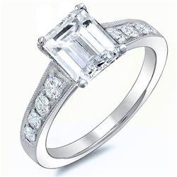Natural 2.12 CTW Emerald Cut w/ Milgrain Detail Diamond Engagement Ring 14KT White Gold