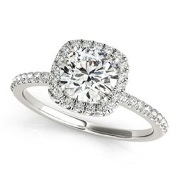 Natural 1 ctw Diamond Solitaire Halo Ring 14k White Gold