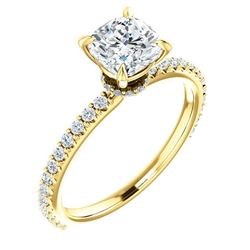 Natural 3.72 CTW Cushion Cut Diamond Engagement Ring 18KT Yellow Gold