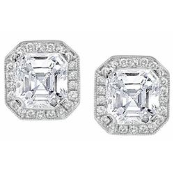 Natural 2.74 CTW Asscher Cut Halo Diamond Earrings 14KT White Gold