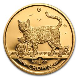 2002 Isle of Man 1 oz Gold Bengal Cat BU