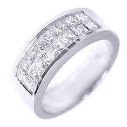 Natural 1.22 CTW Invisible Set Princess Cut Diamond Wedding Ring 14KT White Gold
