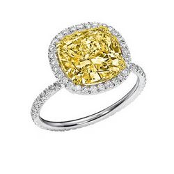 Natural 2.62 CTW Canary Yellow Halo Cushion Cut Diamond Engagement Ring 18KT Two-tone