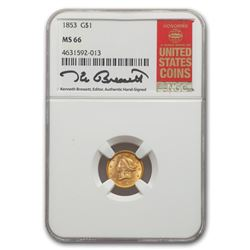 1853 $1 Liberty Head Gold MS-66 NGC
