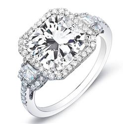 Natural 3.13 CTW Radiant Cut w/ Halo of Round Cut Diamond Engagement Ring 18KT White Gold