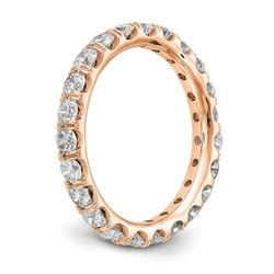 Natural 2.02 CTW Round Brilliant Diamond Eternity Band Wedding Ring 14KT Rose Gold