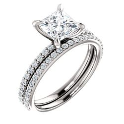 Natural 1.52 CTW Princess Cut Diamond Engagement Set 18KT White Gold