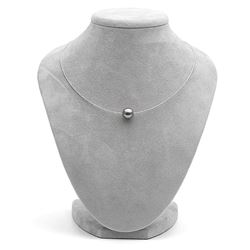 Black Tahitian Round Pearl and Fixed Omega Necklace