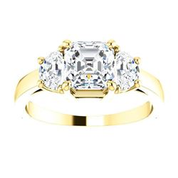 Natural 2.12 CTW Asscher Cut with Half Moons 3-Stone Diamond Ring 14KT Yellow Gold