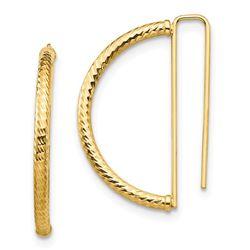 14k Yellow Gold Half Circle Diamond-Cut Earrings