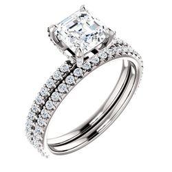 Natural 3.12 CTW halo Asscher Cut Diamond Ring 18KT White Gold