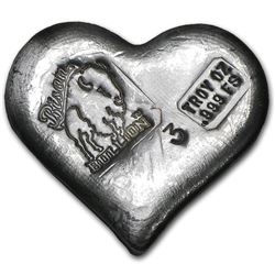 3 oz Hand Poured Silver Heart
