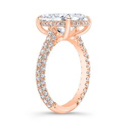 Natural 5.22 CTW Halo Oval Cut Diamond Engagement Ring 14KT Rose Gold