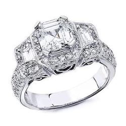 Natural 2.87 CTW Halo Micro Pave Asscher Cut Diamond Ring 14KT White Gold