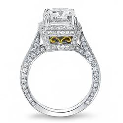 Natural 2.82 CTW Princess Cut Halo Pave Diamond Engagement Ring 18KT Two-tone