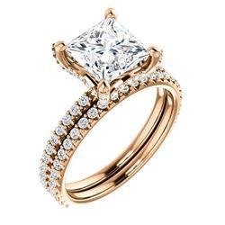 Natural 3.02 CTW Under-Halo Princess Cut Diamond Ring 14KT Rose Gold