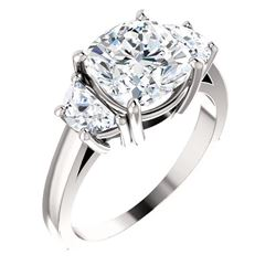 Natural 3.92 CTW Cushion Cut Diamond 3-Stone Engagement Ring 18KT White Gold