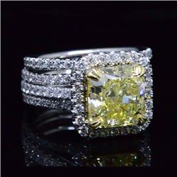 Natural 4.88 CTW Canary Yellow Radiant Cut Diamond Ring 14KT Two-tone