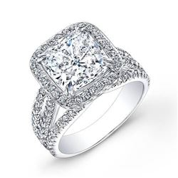 Natural 4.22 CTW Halo Cushion Cut Diamond Engagement Ring 14KT White Gold