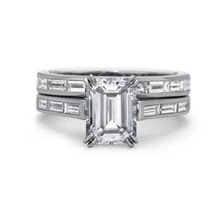 Natural 2.92 CTW Channel Set Baguettes & Emerald Cut Diamond Ring 14KT White Gold