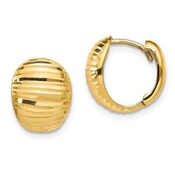 14k Yellow Gold Polished & Textured Huggie Earrings - 47 mm
