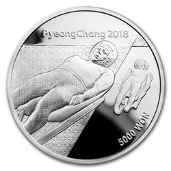 2018 1/2 oz Silver PyeongChang Winter Olympic Luge Proof