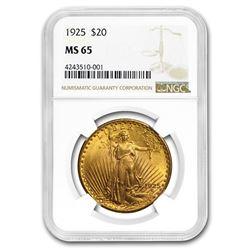 1925 $20 Saint-Gaudens Gold Double Eagle MS-65 NGC