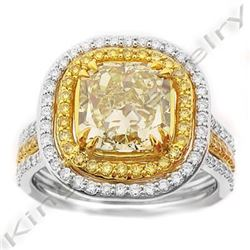 Natural 3.94 CTW Canary Yellow Diamond Engagement Ring 18KT Two-tone